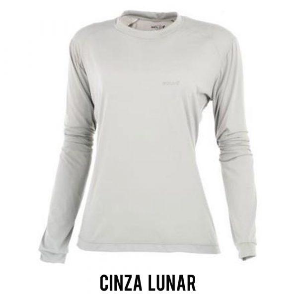 Camiseta Solo Ion Lite ML Feminina - Cinza Lunar