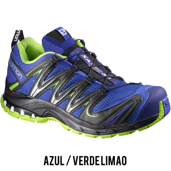 Tênis Salomon XA PRO 3D Masculino - Azul/Verde Limão