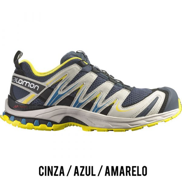 Tênis Salomon XA PRO 3D Masculino - Cinza/Azul/Amarelo
